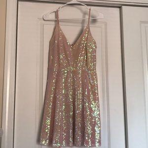 Charlotte Russe sequin blush spaghetti strap dress